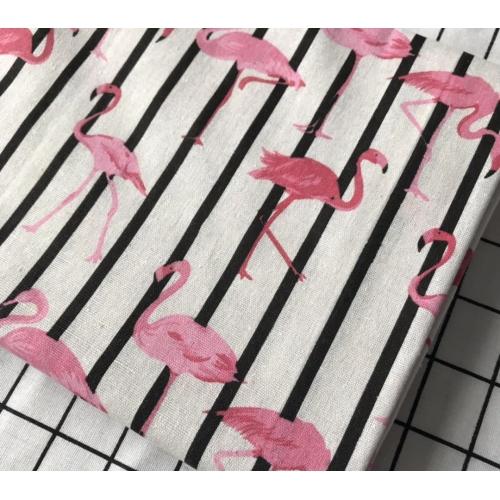Полулён, 150 см, розовый фламинго светлый фон, полоска
