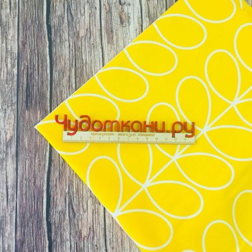 Ткань хлопок, 160см, узор линии, желтый фон, компаньон корон
