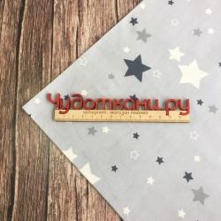 Сатин хлопок, 160см, белые и серые звезды, серый фон (новинка)