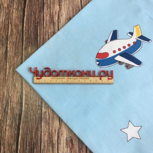 Сатин хлопок, 160см, самолетики, голубой фон (новинка)