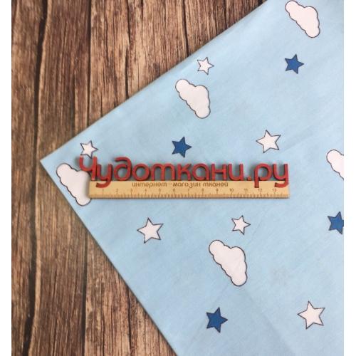 Сатин хлопок, 160см, мелкие облачка и звезды, голубой фон, компаньон самолетиков (новинка)