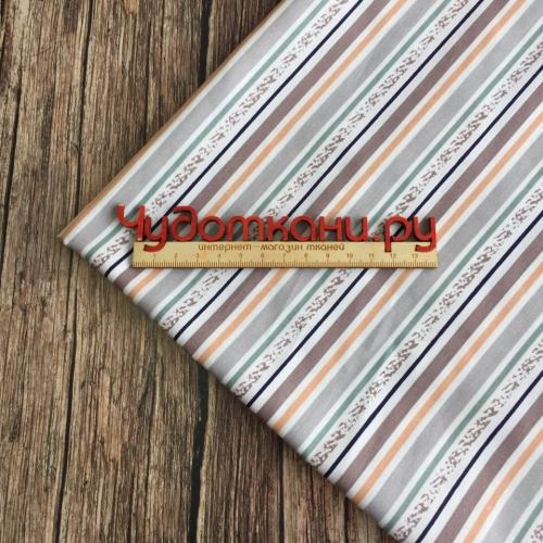 Сатин хлопок, 160см, частые бежево коричневые полосы