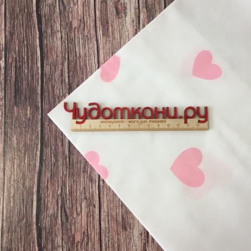 Сатин хлопок, 160 см, розовые сердечки, белый фон