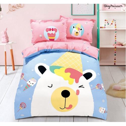 Купон малый, 160 см, медвежонок и мороженое, розовый фон
