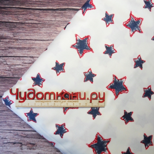 Ткань хлопок, 160 см, синие звезды с красным на белом