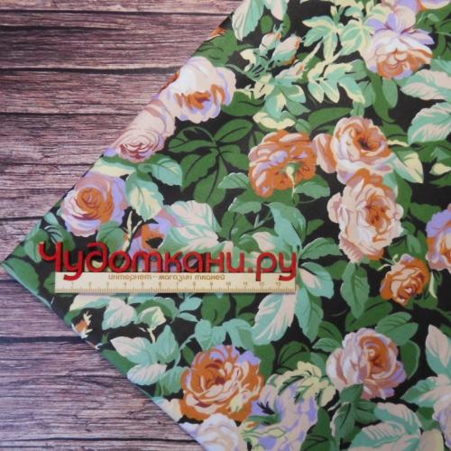 Ткань хлопок, 160 см, розы зеленый фон