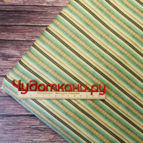Ткань хлопок, 160 см, серо-зеленая полоска