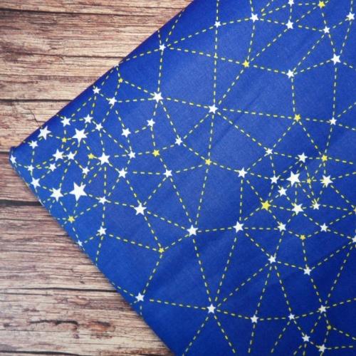 Сатин хлопок, 160 см, звездное небо, синий фон
