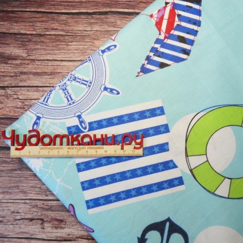 Ткань хлопок, 160 см, морская - голубой фон №190