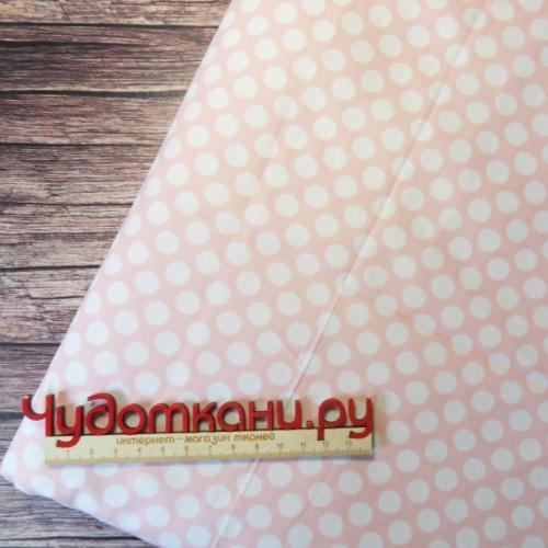 Ткань хлопок, 160 см, белый горошек на розовом (компаньон фей)