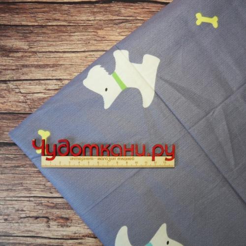 Ткань хлопок, 160 см, собаки синий фон