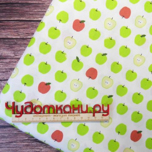 Сатин хлопок, 160 см, мелкие зеленые яблоки