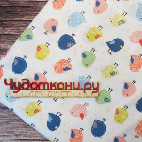 Ткань хлопок, 160 см, цветные птички (новинка)