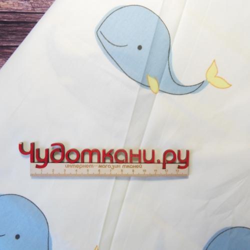 Сатин хлопок, 160 см, голубые киты на белом
