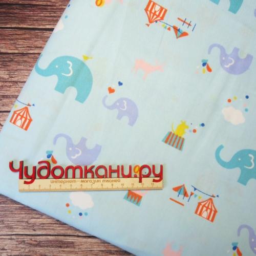 Ткань хлопок, 160 см, слоники голубой фон