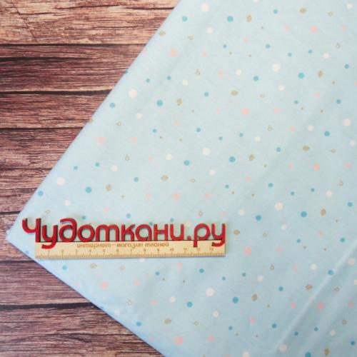 Ткань хлопок, 160 см, слоники голубой фон - компаньон