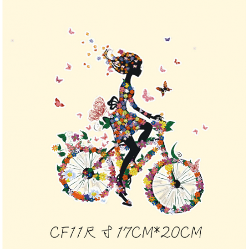 Термотрансфер, 17 см*20 см девушка на велосипеде cf11