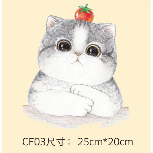 Термотрансфер, 25 см*20 см, большой кот с яблоком