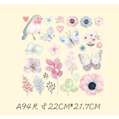 Термотрансфер, 22 см* 21,7 см, птичка и бабочки