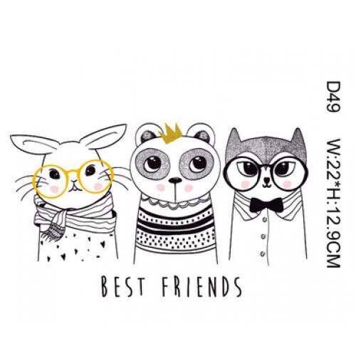 Термотрансфер,  22 см*12,9 см три животных best friends