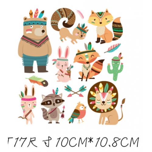 Термотрансфер, 10 см*10,8см. мишка и животные индейцы