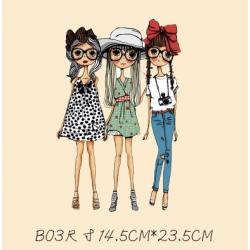 Термотрансфер, 14, 5 см* 23 см, две девочки в платьях, одна в джинсах. большие